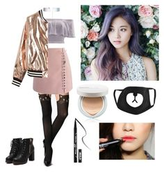 """""""Colourful winter K-pop ∼♡"""" by laurenyyc ❤ liked on Polyvore featuring Chicwish, River Island, Sans Souci, Accessorize, Innisfree and Kat Von D"""