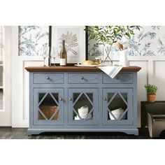 Darby Home Co Velazco Sideboard Base Colour: Sassy Olive, Top Colour: Caribbean Rum Dining Room Sideboard, White Sideboard, Wood Sideboard, Buffet Server, Buffet Tables, Crockery Cabinet, Caribbean Rum, Modern Buffet, Kitchen Buffet