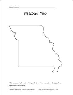 Printable Outline Map of Missouri Worksheet