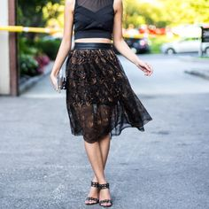 Simple DIY to make a sheer midi skirt. No pattern needed!