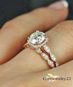 Women's Round Diamond Halo Engagement Ring Bridal Band Set 14K Rose Gold 1.80 CT #giftjewelry22