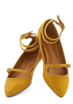 It doesn't always take a compliment about your look for you to know it's the tops. For example, you just know the pointed toes and buckled Mary Jane straps of these rich yellow flats will be fab companions for your striped dress and cardi. Fastened with double-buckles at the ankles, these vegan faux-leather shoes make fashion heartfelt and fun!