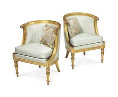 A pair of italian neoclassical Giltwood Bergeres Late 18th/19th century