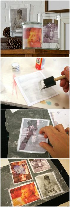 Use Mod Podge photo transfer medium to make glass clings! You can use any photos to do this project, and attach to vases for a unique home decor display. via @modpodgerocks