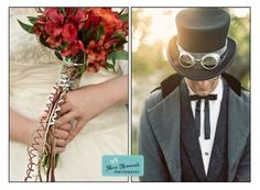 Steam punk bouquet and groom's hat