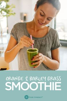We like to jumpstart our day with a chlorophyll-loaded grass juice smoothie. It's also great post-workout. This recipe gives you the base flavors of banana and orange—a nice counter to the earthy grassiness of the Barley Juice.
