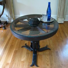 Vintage Wagon Wheel & Iron Side Table