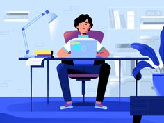 Workplace by Veronika Vieyra on Dribbble Flat Illustration, Digital Illustration, Ui Ux Design, Flat Design, Workplace Design, Saint Charles, Show And Tell, Design Tutorials, Instagram Story