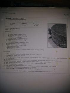 Apple Cinnamon Cake, Cinnamon Apples, Bakery Cakes, Bakery Recipes, Cake Flour, Piece Of Cakes, Unsalted Butter, Baking Soda, Vegan