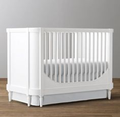 RH Baby & Child's Abileen Crib:Abileen's gently rounded corners shelter little ones while they sleep. Its simplicity is evocative of modern furnishings, while its stepped molding and delicate tapered legs give a subtle nod to the traditional.