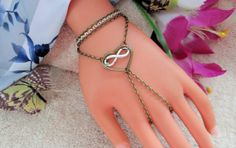 Infinity Heart Hand Chain Slave Bracelet Jewelry by JWBoutique1, $18.00