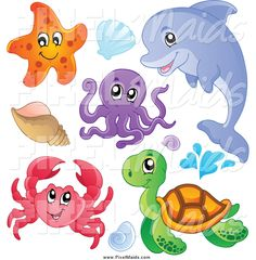 clipart-of-a-cute-starfish-dolphin-octopus-crab-sea-turtle-and-sea-shells-by-visekart-44655.jpg (1024×1044)