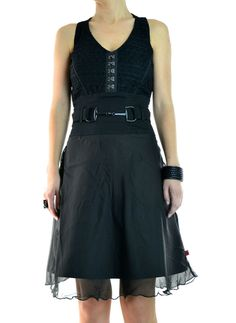 Black Military Goth Biker Moto Punk Cage Cutout Back Bodycon 06 mv Dress S M L
