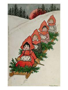 Four Little Girls on a Sledge