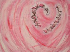 Gebroken hart. 80 x 100 cm. Gemengde technieken op linnen. In dit schilderij zitten diverse metalen, plastic en houten voorwerpen ('troepjes') verwerkt. Zie: http://www.marloesjuffermans.nl