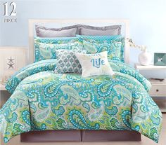 Amazon.com: 12 Piece Modern Bedding Turquoise Blue, Grey and Green Paisley QUEEN Comforter Set - Bed In A Bag with Sheets, Pillow cases, Euro Shams and accent pillows: Bedding & Bath