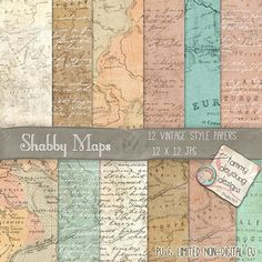 Old World Maps Shabby Vintage Digital Background papers for invites, cards, announcements, travel journals, scrapbooks, weddings