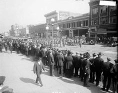 Troops march through downtown Gary, Indiana, in response to the steel workers' strike of 1919.