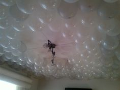The balloon room! The Balloon, 50th, Balloons, Chandelier, Ceiling Lights, Mom, Lighting, Home Decor, Globes