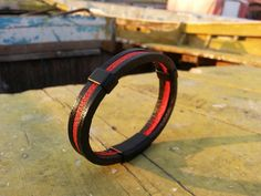 Men's leather bracelet black and red leather with by VavienStore, $23.00