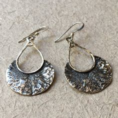 Sterling silver earrings etched gold earrings oxidised