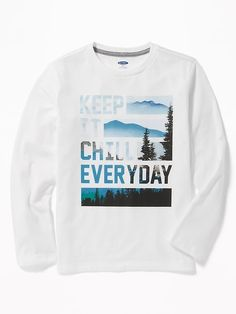 Shop Old Navy's Graphic Crew-Neck Tee for Boys: Crew neck. Mens Tee Shirts, Diy Shirt, Boys Clothes Sale, Cool Graphic Tees, Tee Design, Graphic Design, Shirts With Sayings, Printed Tees, Girls Shopping