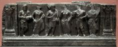 Gandhara frieze with donor, in purely Hellenistic style, 1st-2nd century CE. Buner, Swat, Pakistan. Victoria and Albert Museum. Photo by PHGCOM, 2005.
