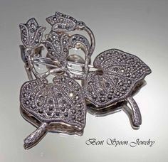 Vintage Sterling Silver Marcasite Leaf Pin by Bentspoonjewelry, $48.00