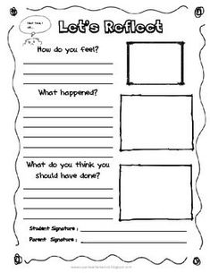 Worksheets Behavior Worksheets For Kids tween teaching behavior reflections sheet school pinterest reflection for management self is a skill that children of all ages need