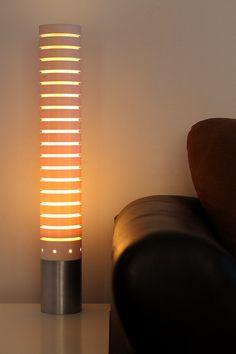 PVC & Aluminum Tube Table Lamp  Art Deco / Mid by PolyVinylDesign
