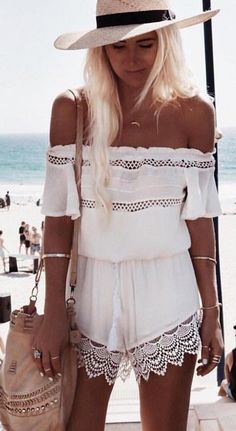 #whitefoxboutique #spring #Summer #outfitideas | White Crochet Romper                                                                             Source