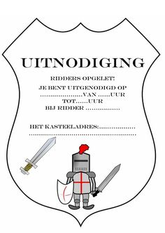 uitnodiging voor een ridderfeest, hoef je eigenlijk alleen nog maar uit te printen Diy For Kids, Crafts For Kids, Mike The Knight, Medieval Party, Knight Party, Ninja Party, Valentines Day For Him, Cosmetic Shop, Disney Nails