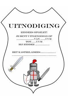 uitnodiging voor een ridderfeest, hoef je eigenlijk alleen nog maar uit te printen