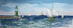 Hanse Sail (c) Aquarell von Frank Koebsch Hanse Sail, Sailing Ships, The Good Place, Boat, Landscape, Drawings, Watercolors, Places, Artist