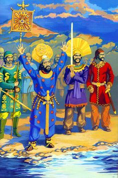 Persian emperor Khosrov Anushirvan reaching the Mediterranean coast during the Roman–Persian Wars Parthian Empire, Persian Warrior, Ancient Artefacts, Sassanid, Ancient Armor, Achaemenid, Ancient Near East, Ancient Persia, Super Hero Outfits
