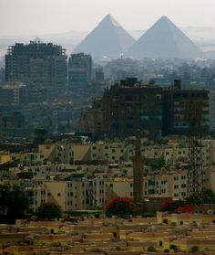 Great pyramids of Giza, from Cairo Citadel, Egypt
