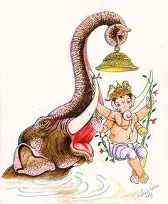 No photo description available. Ganesha Sketch, Ganesha Drawing, Lord Ganesha Paintings, Ganesha Art, Shiva Art, Hindu Art, Bal Krishna, Krishna Art, Indian Gods