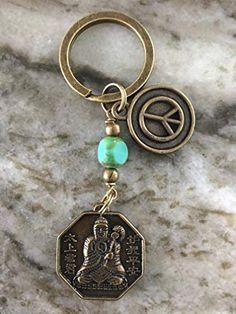 Keychain Clip, Key Rings, Key Chain, Iphone Wallpaper, Buddha, Bronze, Peace, Inspirational, Sign