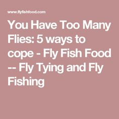 You Have Too Many Flies: 5 ways to cope - Fly Fish Food -- Fly Tying and Fly Fishing