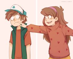 Dipper and Mabel Pines - Gravity Falls - Cute anime couple - Pinescest - See this image on Photobucket.