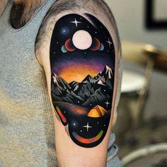 Tattoo by David Cote @thedavidcote space color unique mountains landscape