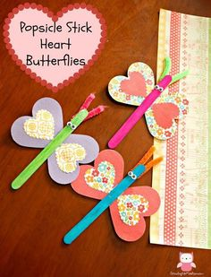 Popsicle Stick Heart Butterflies - Valentine Day Craft for Kids | Growing up Madison