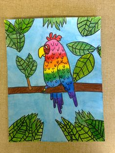 "Color It Like you MEAN it!: 5th grade ""Art By Me"" parrots"