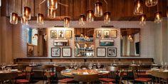 Angeline's - The Kimpton Tryon Park Hotel | Cooper Carry Park Hotel, Hotel Lobby, Communal Table, American Restaurant, Wine Wall, Bar Seating, Custom Lighting, Patio Dining, Design Development