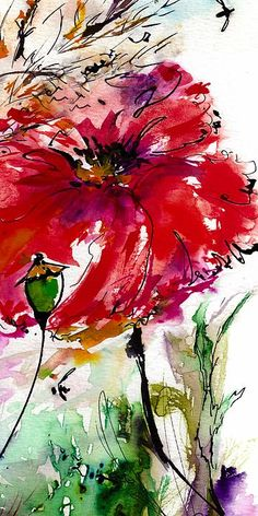 A lovely watercolor and ink poppy - somehow, watercolor and ink outlines just resonate with me!