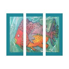#fishing - #Funky fish in bright colours canvas print