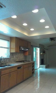 remodel flourescent light box in kitchen - Bing images Recessed Lighting Layout, Kitchen Recessed Lighting, Kitchen Lighting Fixtures, Recess Lighting In Kitchen, Recessed Ceiling, Light Fixtures, Kitchen Ceiling Design, Kitchen Ceiling Lights, Interior Design Kitchen