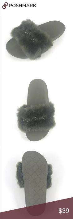 5f4d42c1767 Bebe Furiosa Olive Faux Fur Rhinestone Slippers Bebe Womens Furiosa Olive  Green Faux Fur Rhinestone Slides