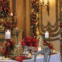Christmas dining --mix of antiquity and modern glamor.