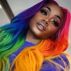 17 - Would you look at the colorful hair designs we prepared for you? - 1 We continue to offer wonderfully colorful Hair designs. Weave Hairstyles, Pretty Hairstyles, Fashion Hairstyles, Wedding Hairstyles, Rainbow Wig, Rainbow Hair Colors, Colourful Hair, Colorful, Pelo Multicolor
